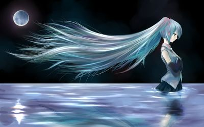 Hatsune Miku in the river - Vocaloid wallpaper