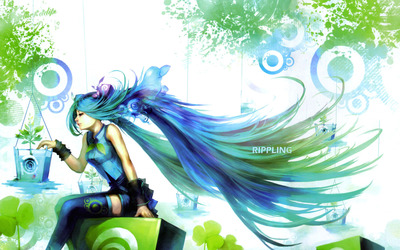 Hatsune Miku looking at the plant - Vocaloid wallpaper