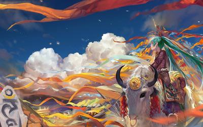 Hatsune Miku on a bison - Vocaloid wallpaper