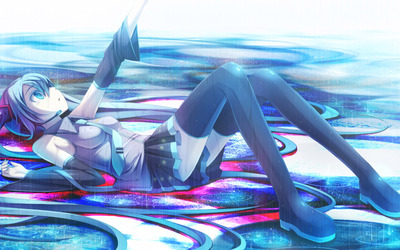 Hatsune Miku on a rainy day - Vocaloid wallpaper