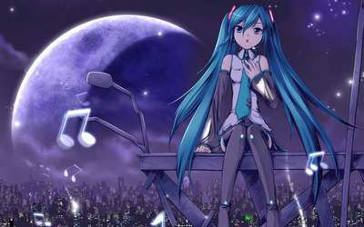 Hatsune Miku on top of the city - Vocaloid wallpaper