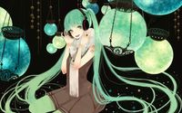 Hatsune Miku surrounded by lamps - Vocaloid wallpaper 1920x1200 jpg
