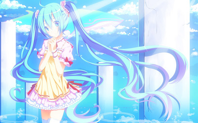Hatsune Miku under sun light - Vocaloid wallpaper