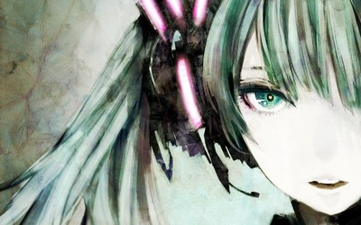 Hatsune Miku with pink headphones - Vocaloid wallpaper