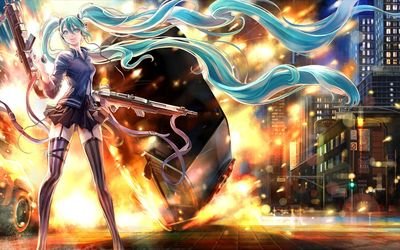 Hatsune Miku with rifles - Vocaloid wallpaper