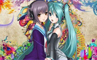 IU and Hatsune Miku in Vocaloid wallpaper
