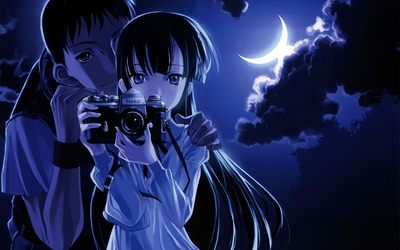 Lady Luna and Kouhei from Tsukuyomi: Moon Phase wallpaper