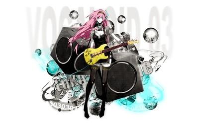 Megurine Luka with a yellow guitar - Vocaloid wallpaper