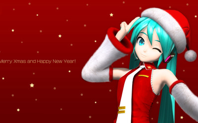 Merry Xmas from Hatsune Miku - Vocaloid wallpaper