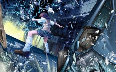 Misaka Mikoto through broken glass - Toaru Majutsu no Index wallpaper