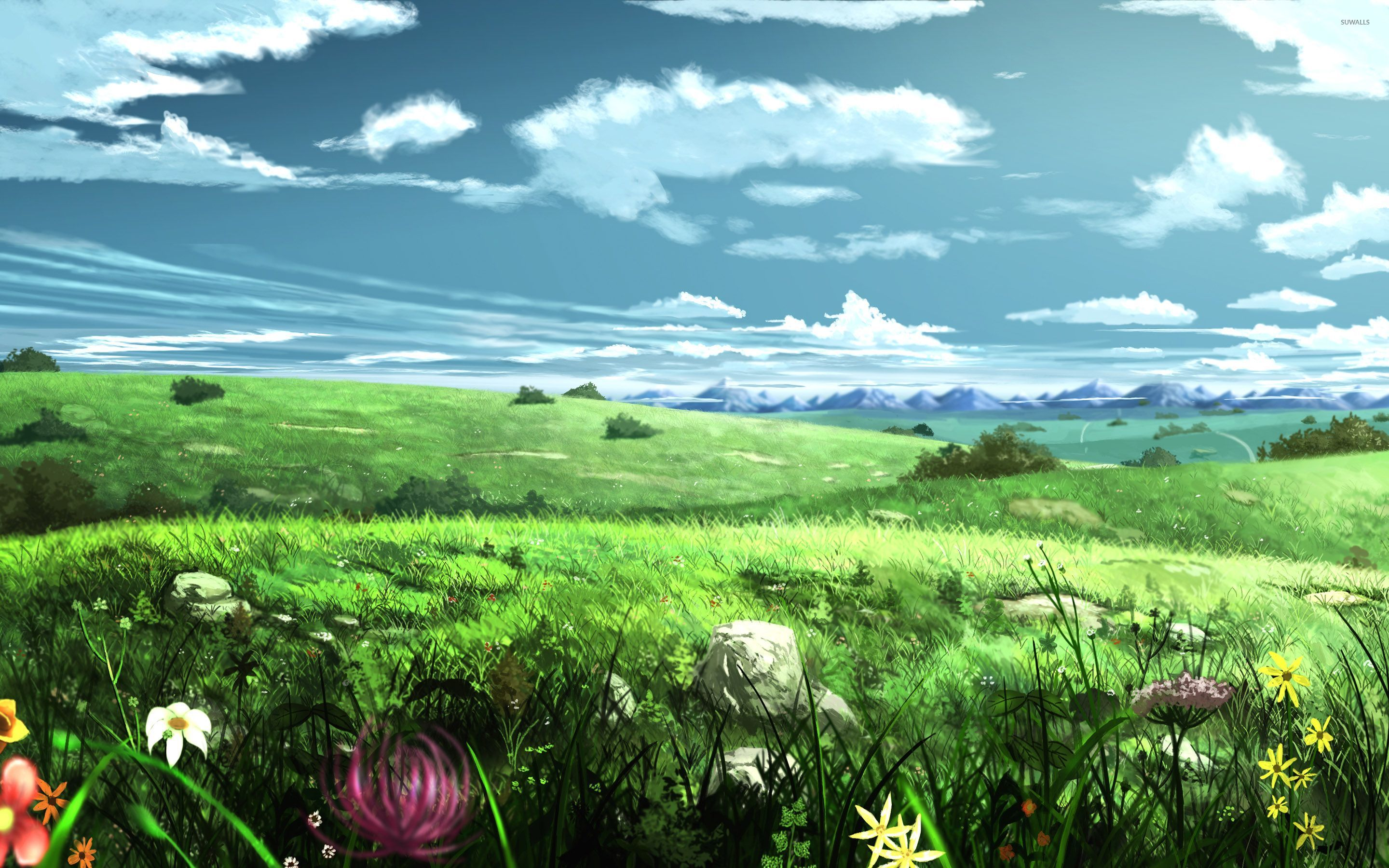 over the hills wallpaper - anime wallpapers - #30760
