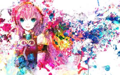 Paint splash of Megurine Luka - Vocaloid wallpaper