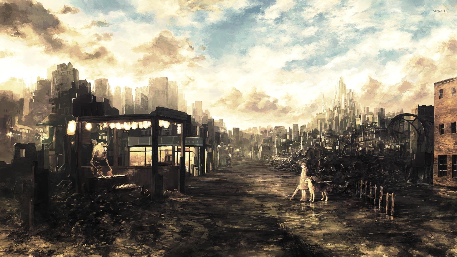 Post Apocalyptic Anime City Wallpaper Anime Wallpapers 30765