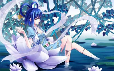 Purple girl in a lotus wallpaper