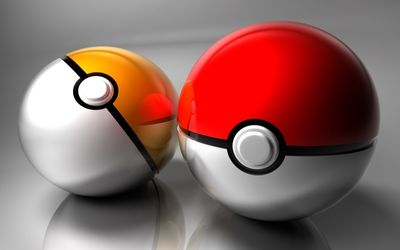 Red and yellow Poke Balls wallpaper