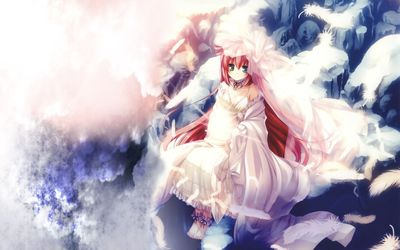 Redhead angel in the sky wallpaper