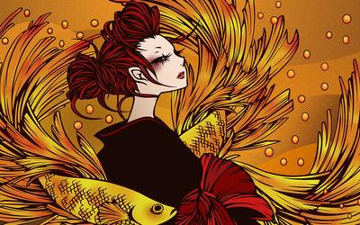 Redhead mermaid wallpaper