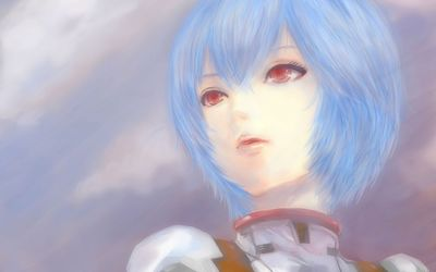 Rei Ayanami portrait from below wallpaper