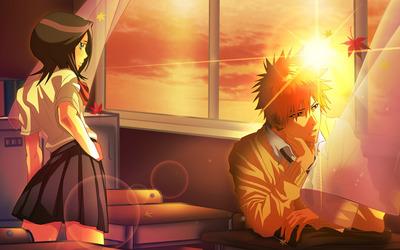 Rukia Kuchiki and Ichigo Kurosaki - Bleach wallpaper