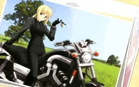 Saber on a bike - Fate/Zero wallpaper 2880x1800 jpg