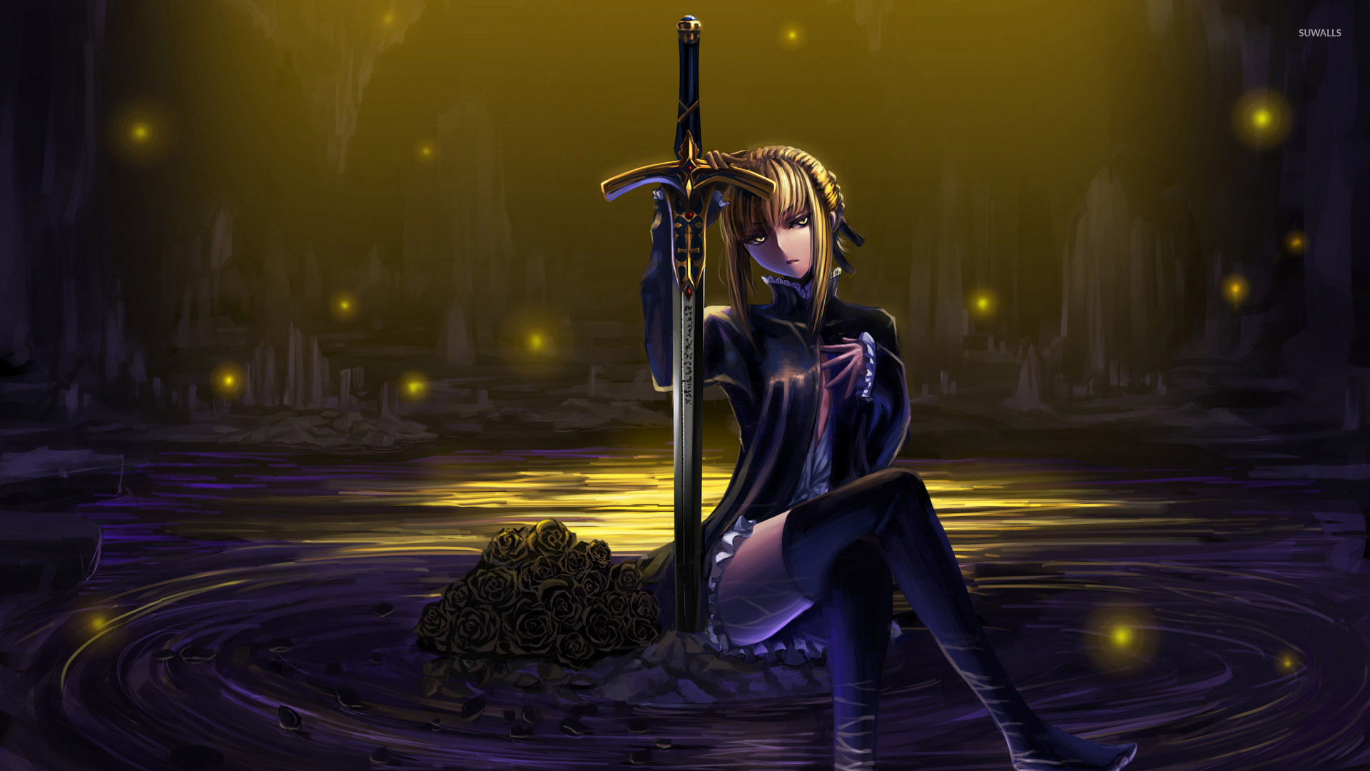 Saber On A Rock Fate Stay Night Wallpaper Anime Wallpapers 51059