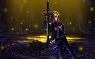 Saber on a rock - Fate/stay night wallpaper