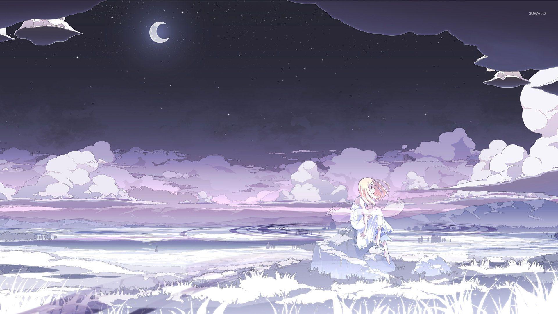 Sad Blonde Under The Moonlight Wallpaper