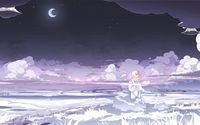 Sad blonde under the moonlight wallpaper 1920x1080 jpg