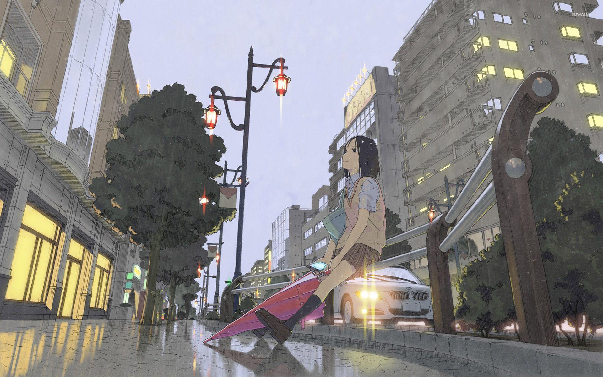 Sad Schoolgirl In The Rain Wallpaper Anime Wallpapers 30801