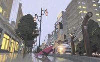 Sad schoolgirl in the rain wallpaper 1920x1200 jpg