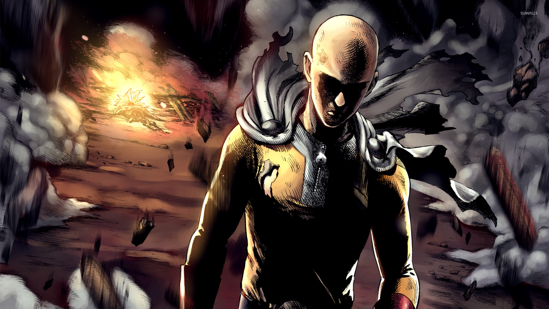 Saitama In An Explosion One Punch Man Wallpaper Anime