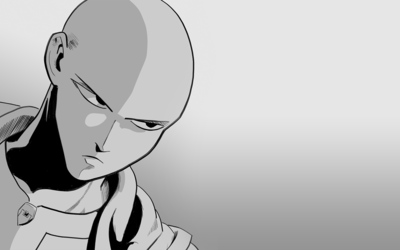 Saitama with an angry look in One-Punch Man wallpaper
