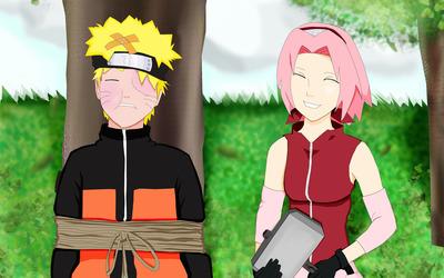 Sakura Haruno and Naruto Uzumaki in Naruto wallpaper