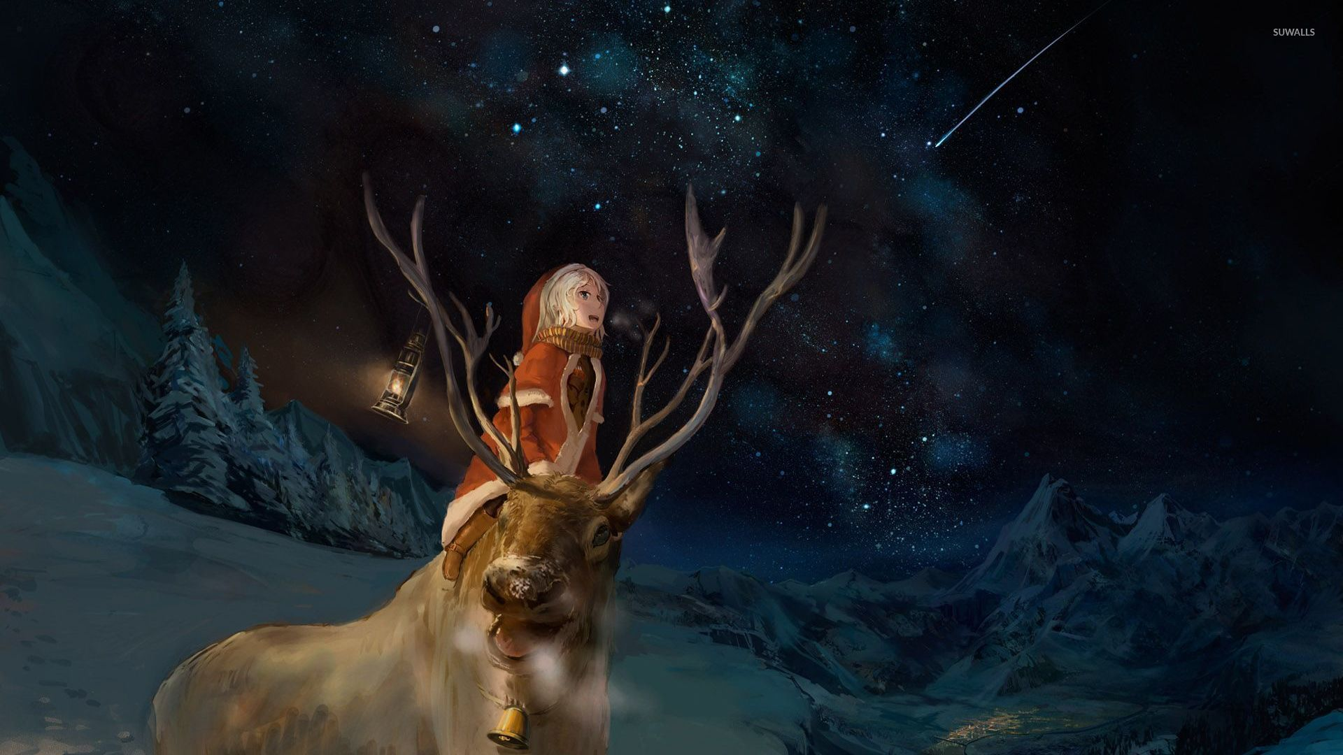 Santa Girl And A Reindeer Watching The Night Sky Wallpaper HD Wallpapers Download Free Images Wallpaper [1000image.com]