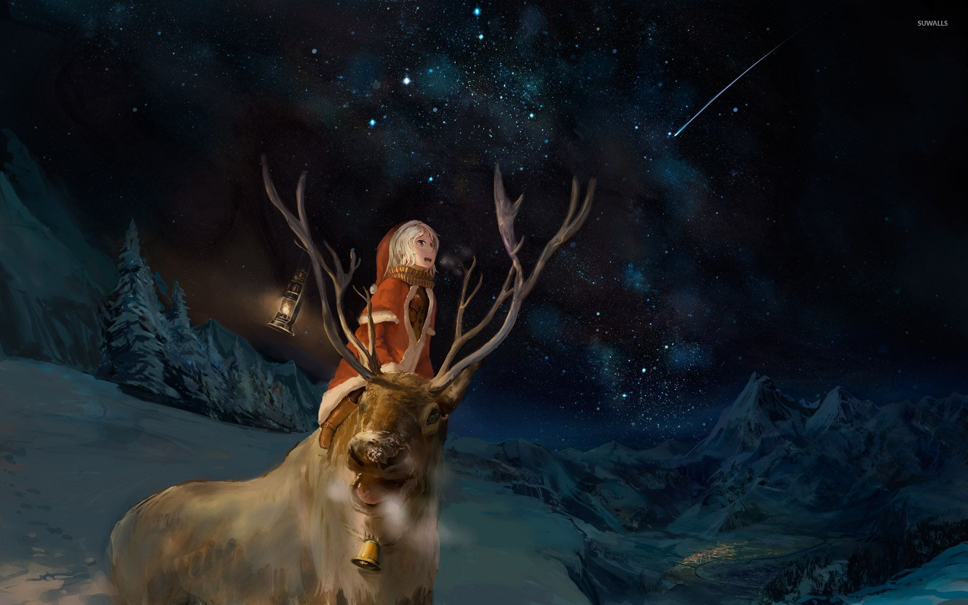 Santa Girl And A Reindeer Watching The Night Sky Wallpaper Anime