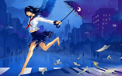 School girl running in the rain wallpaper