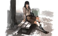 School girl sitting on the bench wallpaper 1920x1200 jpg