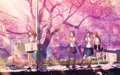 School girls on a spring day wallpaper