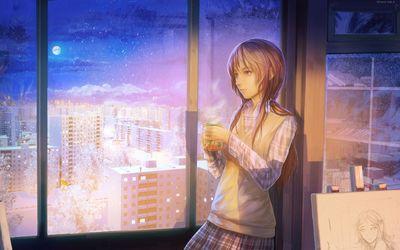 Schoolgirl staring at the window wallpaper