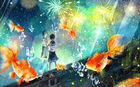 Schoolgirl wathing the fireworks wallpaper 2880x1800 jpg
