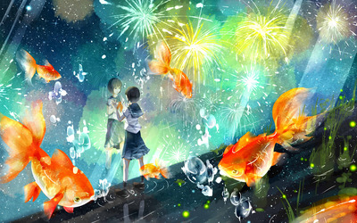 Schoolgirl wathing the fireworks wallpaper