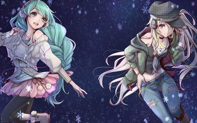SeeU and Hatsune Miku with headphonea - Vocaloid wallpaper