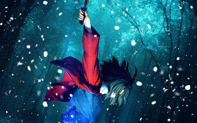 Shiki Ryougi in the snow - Kara no Kyokai wallpaper