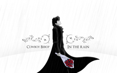 Spike Spiegel with a red rose bouquet - Cowboy Bebop wallpaper