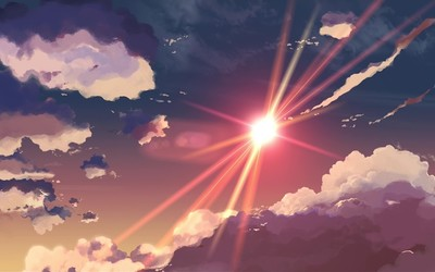 Sunset clouds in 5 Centimeters Per Second wallpaper