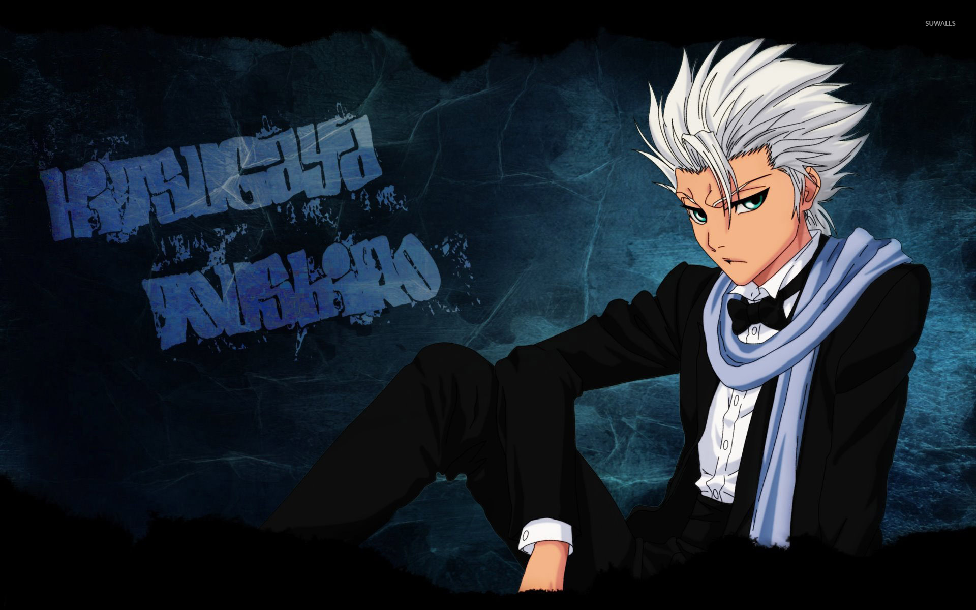 Toshiro hitsugaya in a black suit bleach wallpaper anime