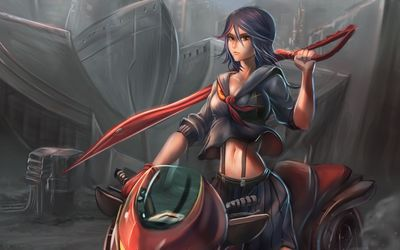 Warrior girl on the scooter wallpaper