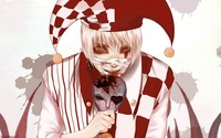 White and red clown with a mask wallpaper 2560x1600 jpg