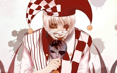White and red clown with a mask wallpaper
