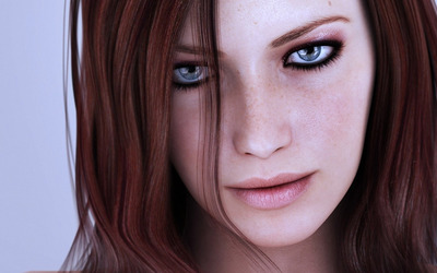 Amazing redhead with freckles wallpaper